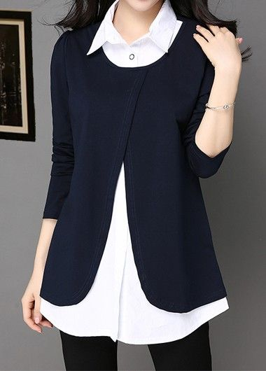 5c86ef9076c9a6 Long Sleeve Turndown Collar Patchwork Navy Blue Blouse | Rosewe.com - USD  $31.86