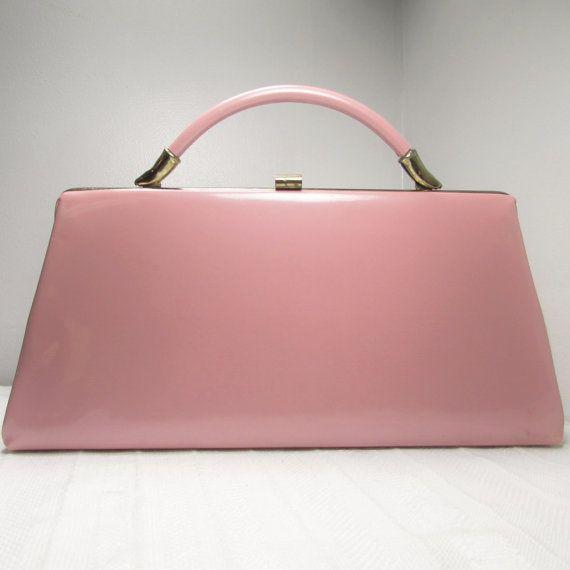 Pink Dover Purse: Shiny Patent Convertible Clutch Handbag, Vintage 1960s