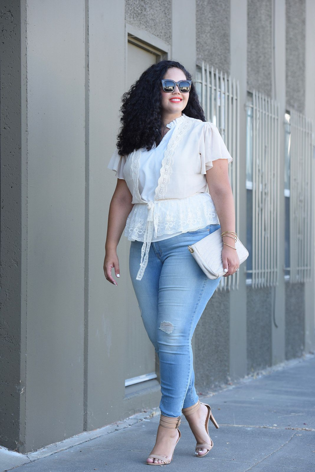 fe9a38b5757c7 Tanesha Awasthi (also known as Girl With Curves) wearing plus size skinny  jeans