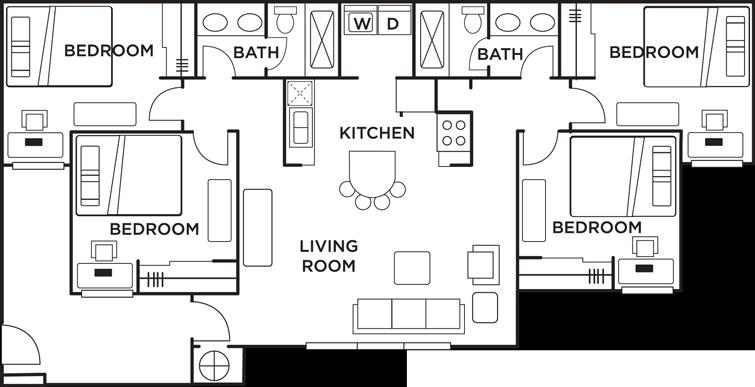 Floor Plans Campus Corner Student Apartments In Bloomington In Student Apartment Floor Plans Apartment Communities