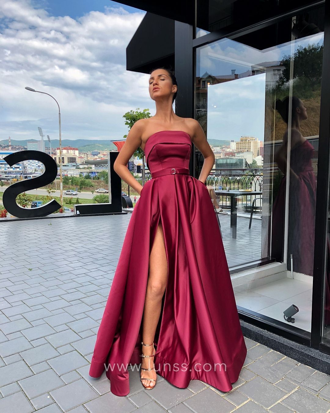 5b39591e78f Chic magenta satin strapless A-line long prom dress with high slit and  pockets. Modern satin long prom gown.