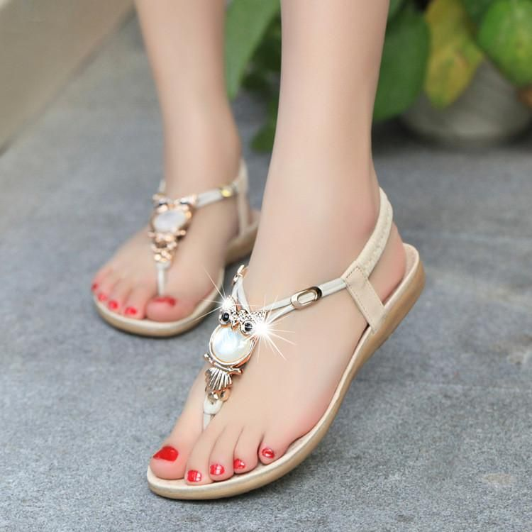 f3b93012502d Gemstone Beads Comfortable TPR Thong Sandals