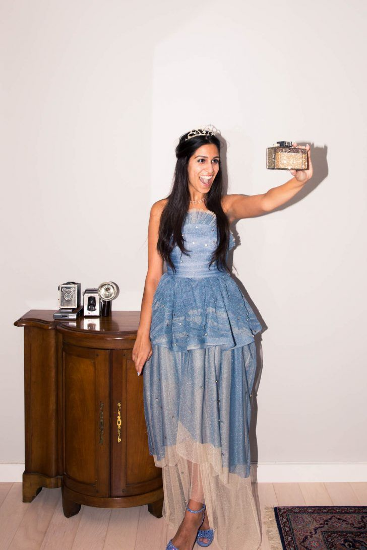 Inside Deputy Fashion Editor Anahita Moussavian's Closet: Blue Strapless Dress, Stretsis; Tiara, Louis Vuitton; Blue High Heel Shoes, Gucci | coveteur.com