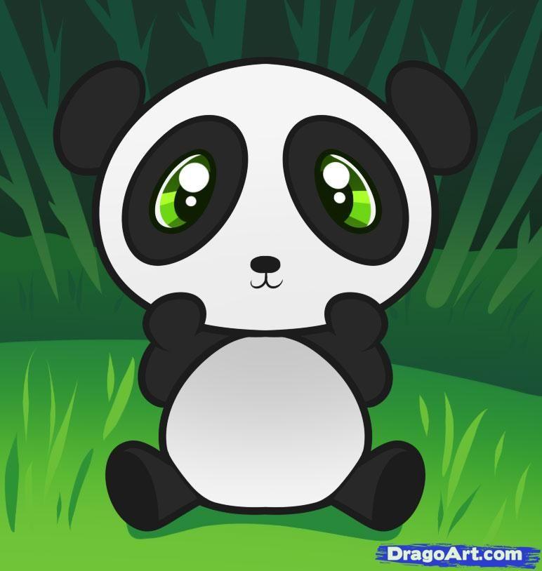 Panda Drawing Cute Cartoon Panda Illustration