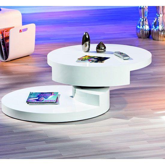 Rotondi Round Swivel White Gloss Coffee Table
