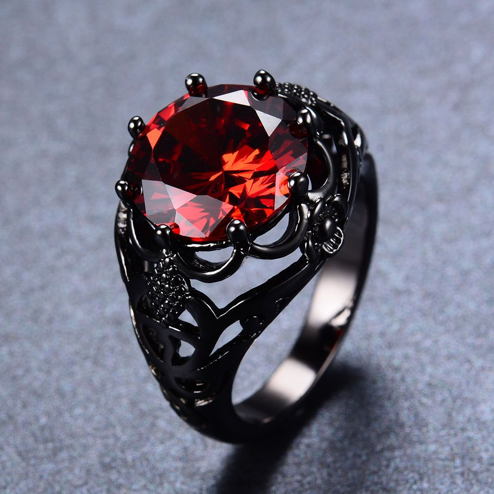 6.99AUD Round Red Ruby Wedding Women/Man Rings Solid