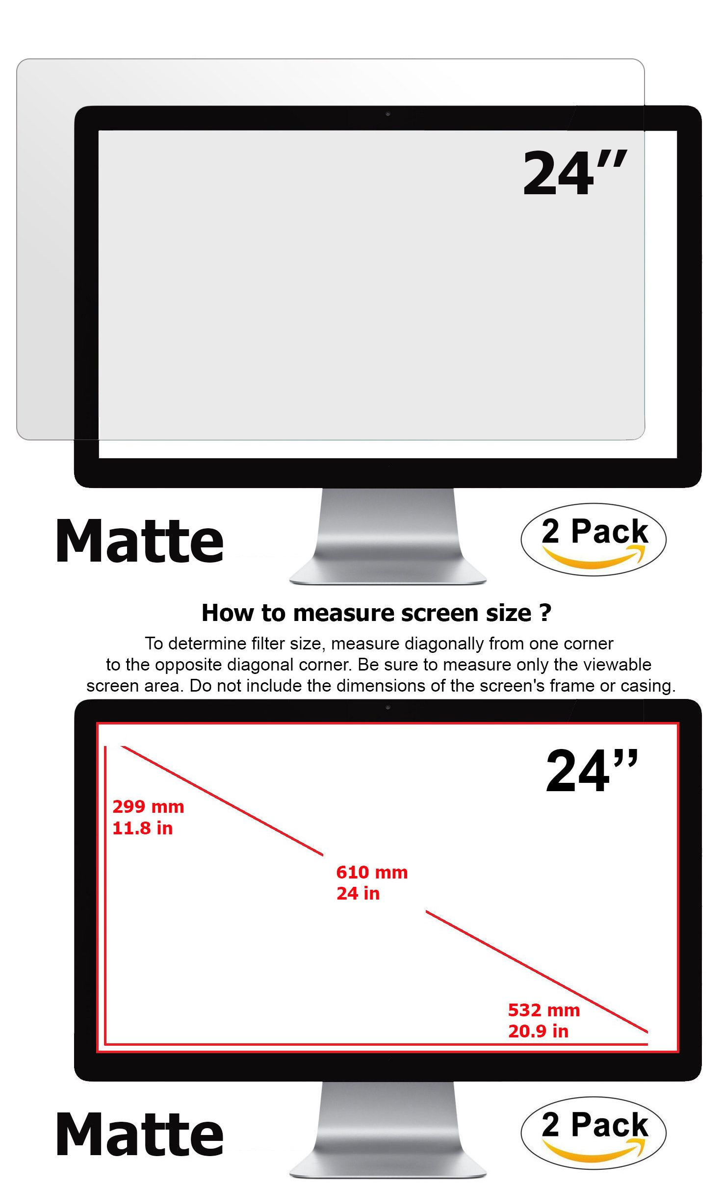 Anti Glare Matte Screen Protector For Desktop Monitor 24 Inch Display 16 9 Screen Protector Monitor Screen