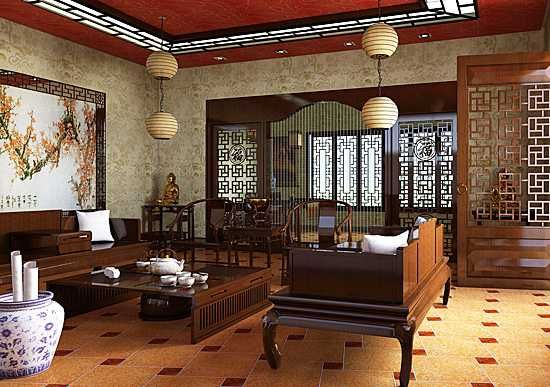 Oriental interior decorating ideas and wood furniture for for Oriental furniture living room