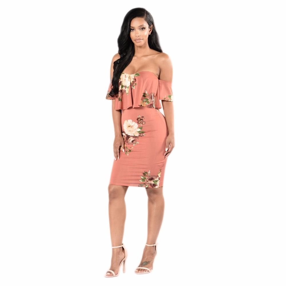 Ruffle short sleeve off shoulder bodycon knee length dresses for
