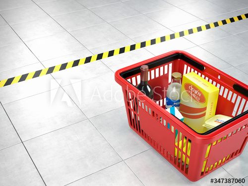 Shopping basket near the security tape line in the supermarket. Social distance concept. 3d rendering #AD , #tape, #line, #security, #Shopping, #basket