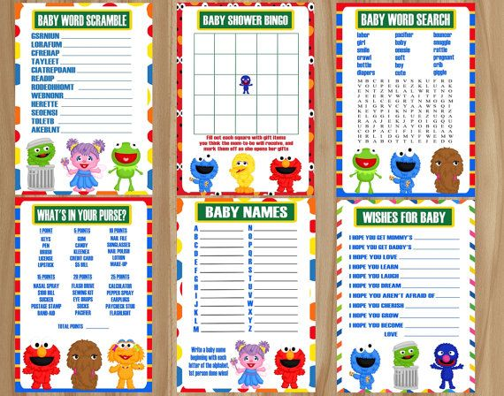 All 8 Games Sesame Street Baby Shower Elmo By Graphicsbycolton