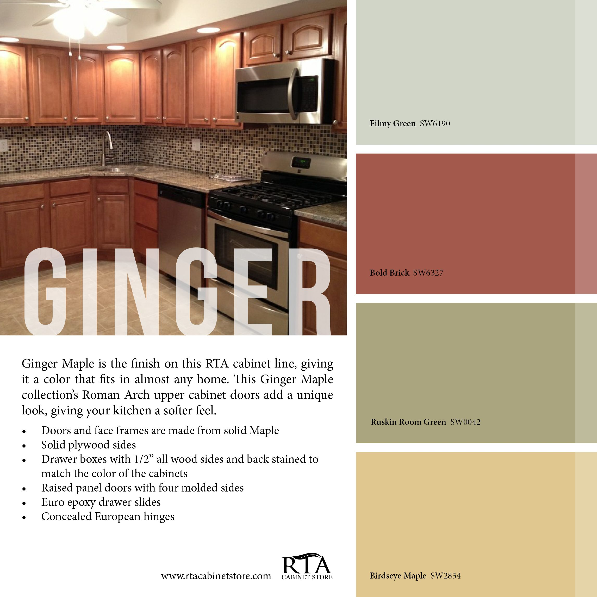 What colors are in the zen palate - Color Palette To Go With Our Ginger Maple Kitchen Cabinet Line