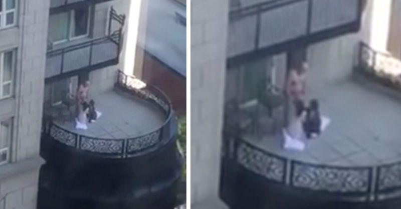 (兒童不宜)高級飯店陽台上被拍到竟然有1男站著2女跪著在搶著幫男子口愛愛...% 照片