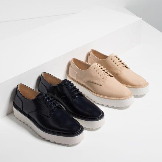 Flat Platform Lace Up Shoes View All Shoes Woman Schuhe Zara Schuhe Extravagante Schuhe
