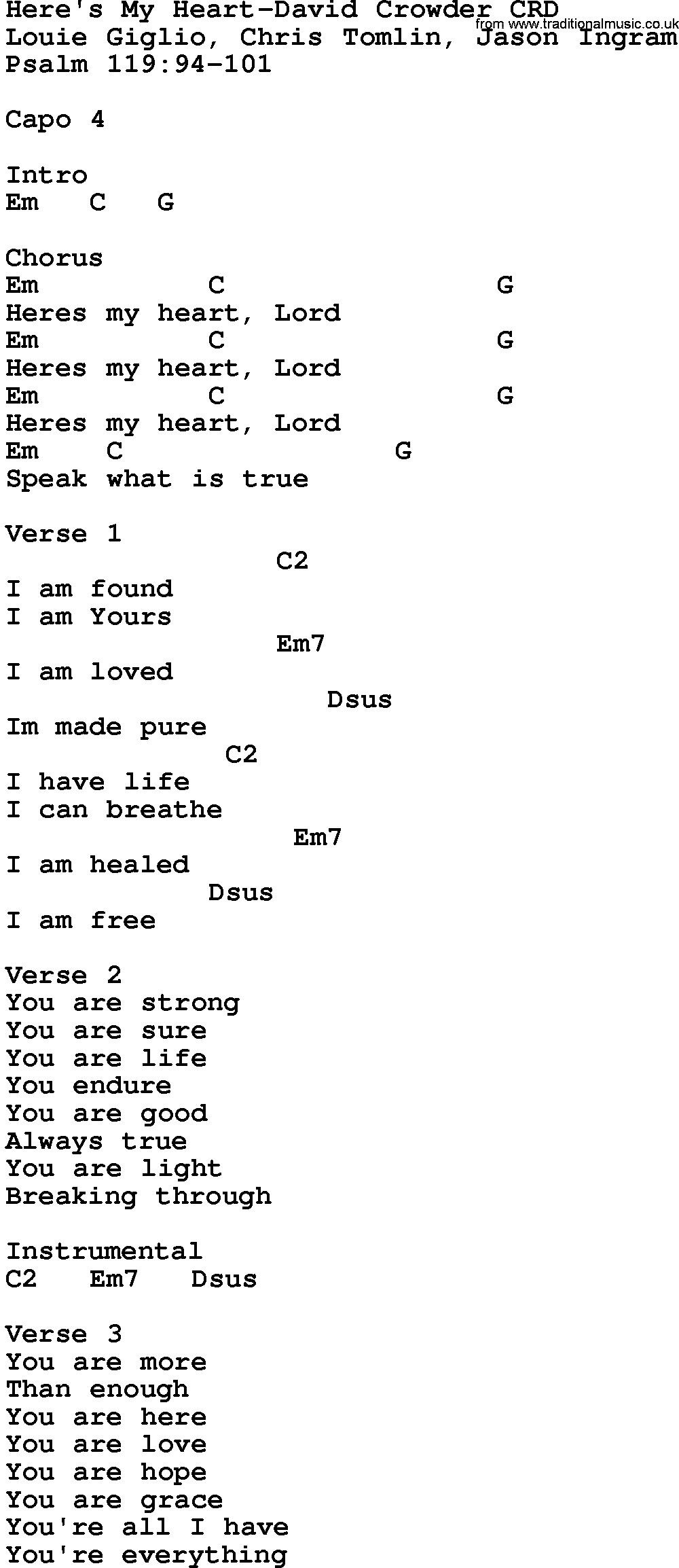 Gospel Song Heres My Heart David Crowder Lyrics And Chords