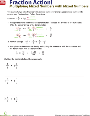 Worksheets: How to Multiply Mixed Numbers by Mixed Numbers