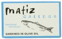 Matiz Gallego Sardines in Olive Oil, 4.2-Ounce Unit (Pack of 5)