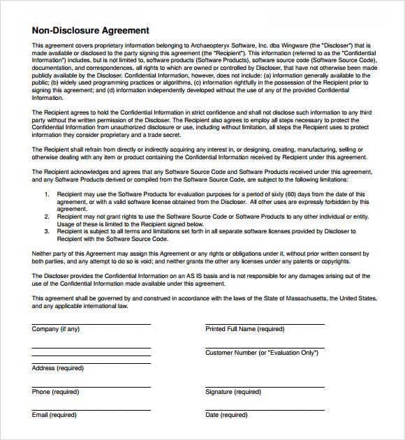 free non disclosure agreement form word pdf documents - sample employee confidentiality agreement