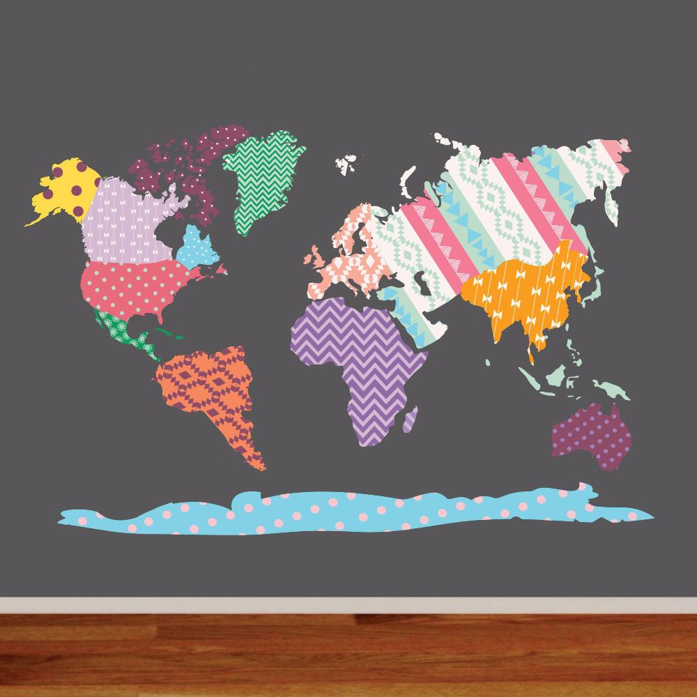 World map decal nursery wall vinyl world map wall decal nursery wall vinyl world map wall decal patterned world map map vinyl decals modern map vinyl decals by wallartdesign on etsy gumiabroncs Image collections
