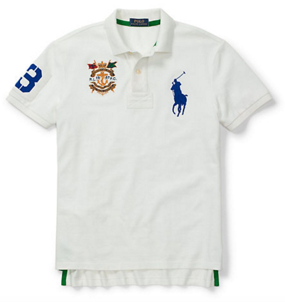 Polo Ralph Lauren Mens Big Pony Classic Fit Crest Polo Shirt White