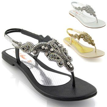 123 All Sole Womens Flat Sparkly diamante slingback sandals silver gold  black ladies evening beach smart