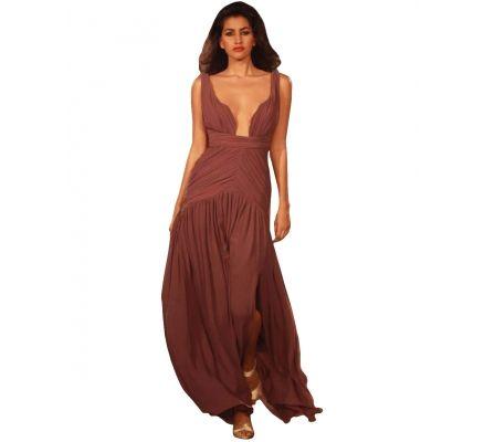 Mauve Draped Georgette Gown  USD 630.74
