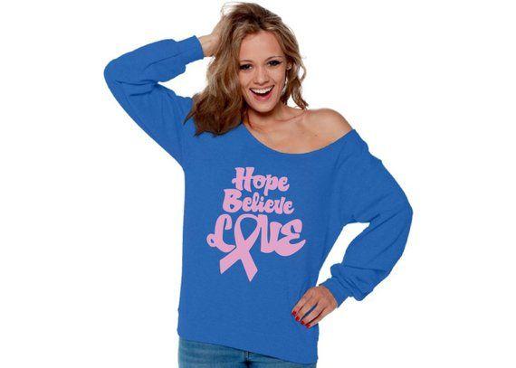 b59bdf608 Hope Believe Love Off Shoulder Sweatshirt. Pink Ribbon Oversized Sweater.