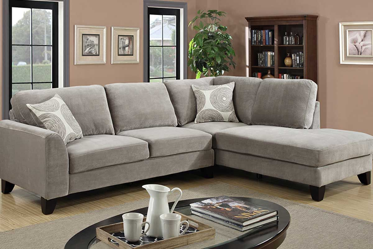 Malibu Sectional Midcentury Modern Grey Sectional Sofa Grey