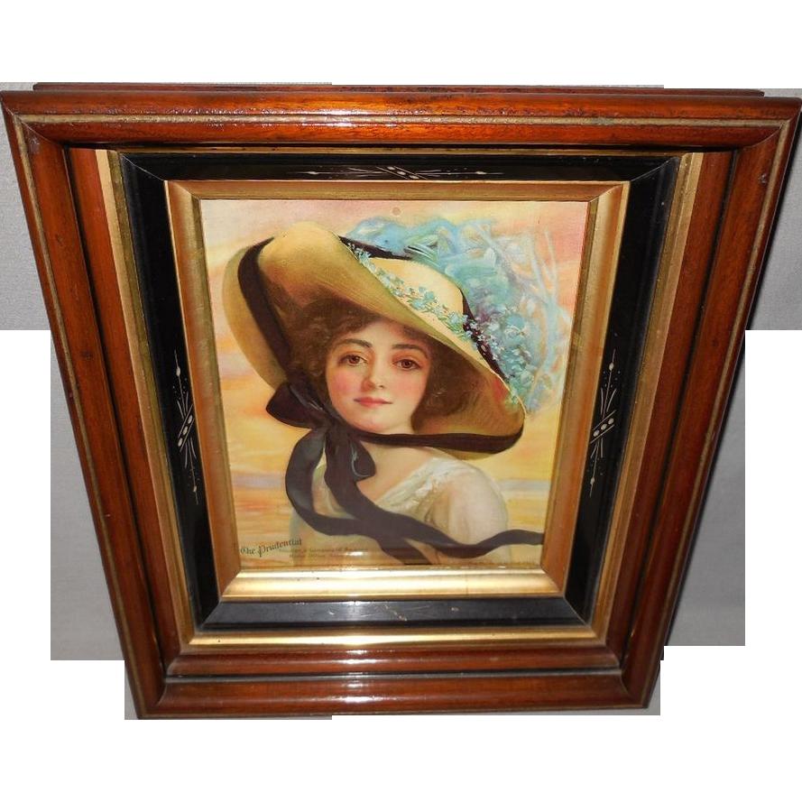 Prudential Insurance Company 1913 Calendar Girl in Multi-Layer Eastlake Frame