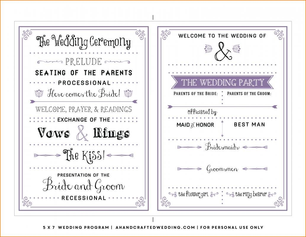 free wedding program template word - Free Wedding Program Templates Word