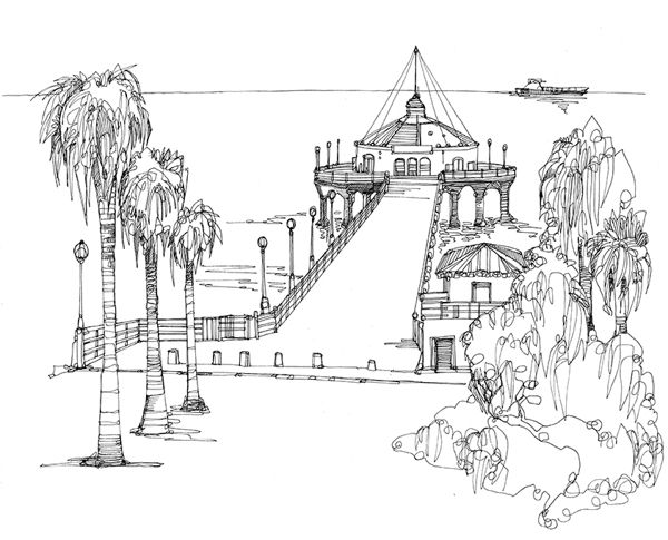 Los Angeles Cityscape Drawings By Abigail Daker Via Behance