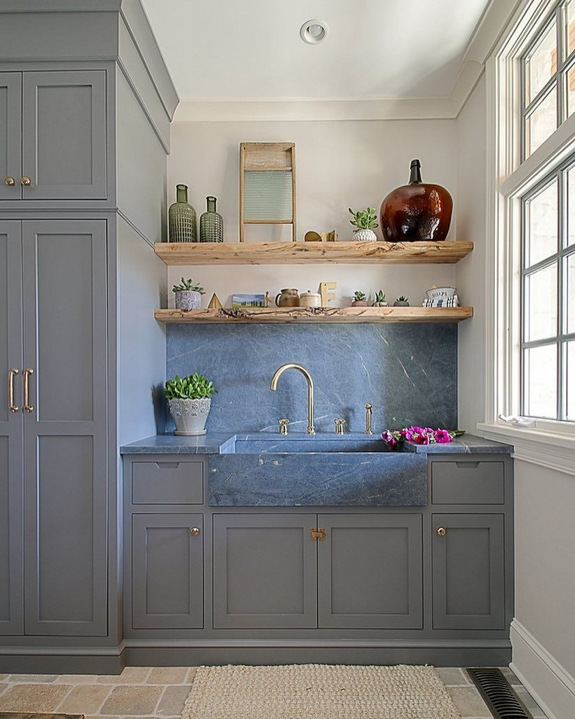 Best Mudroom Goals The Blue Gray Cabinet Paint Color Is 640 x 480