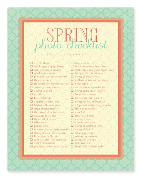 Capturing Real Life: Printable Photo Checklists - simple as that