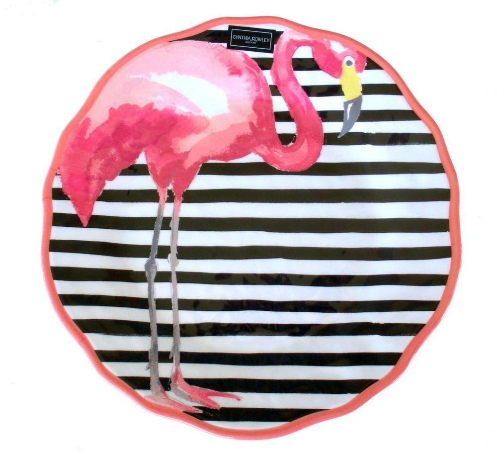 4 Cynthia Rowley Tropical Flamingo Melamine Coastal Side Salad ...