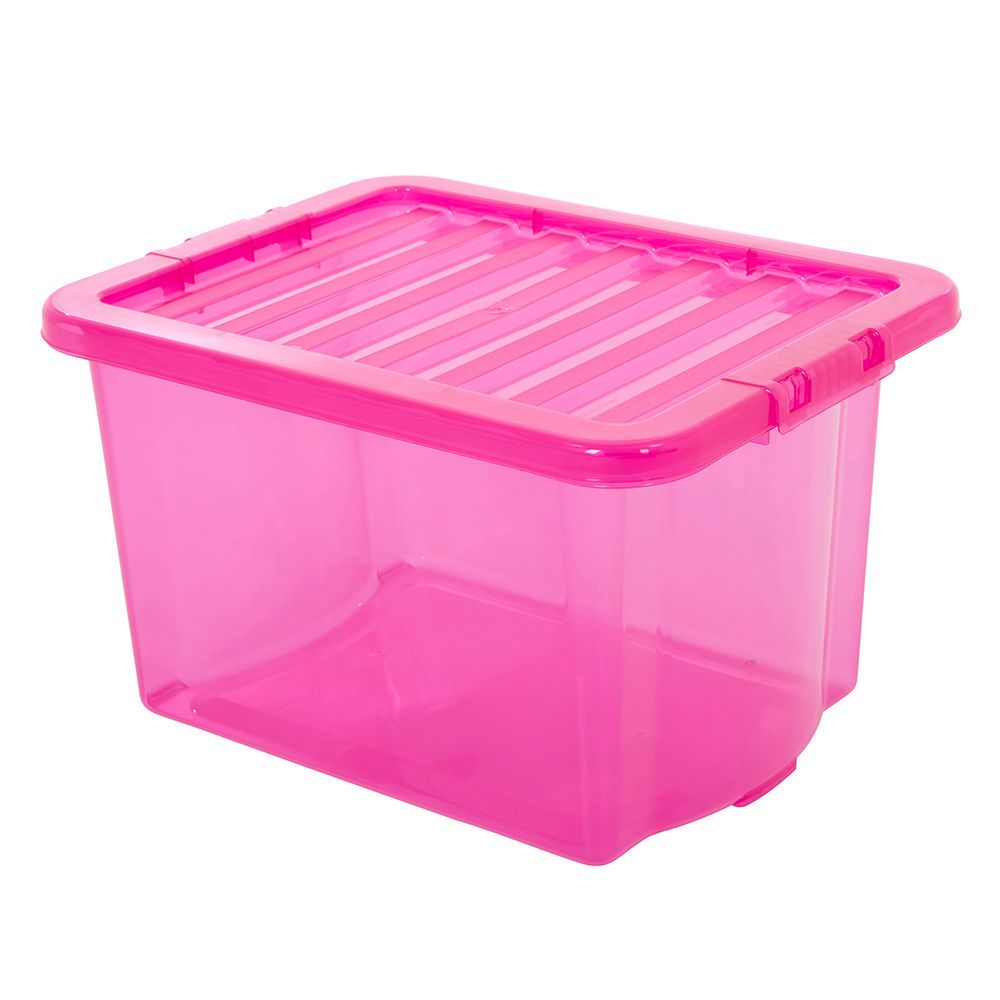 24 Litre Storage Box Pink Plastic Containers Multi Packs Home Office Storage Home Office Storage Plastic Storage Bins Storage