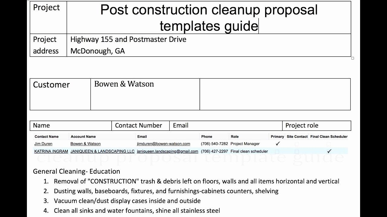 Cleaning Proposal Template Pdf Inspirational Post