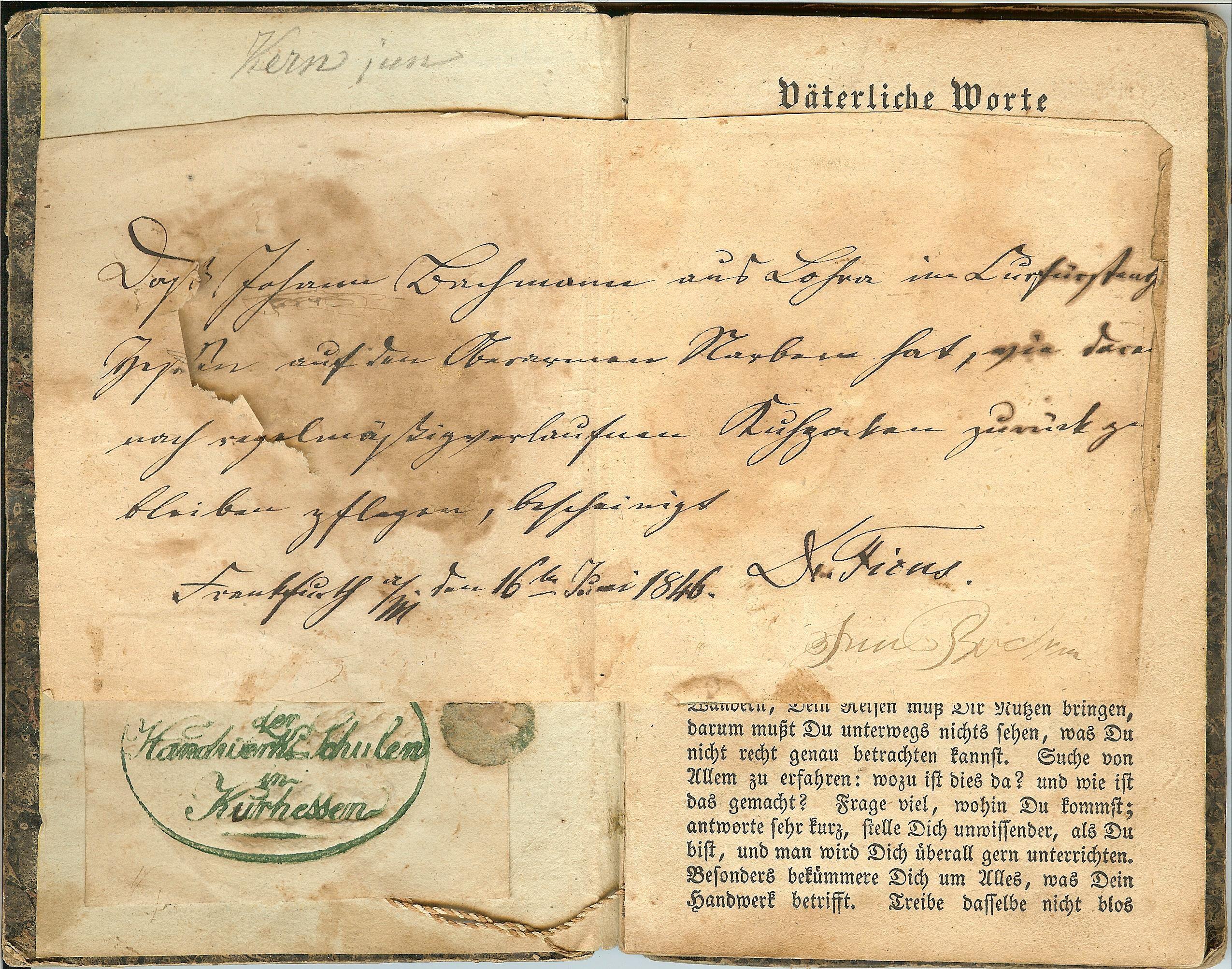 Wanderbuch des Schneidergesellen Johannes Bachmann aus Lohra; Bachmann emigrierte 1852 in die USA; das Wanderbuch ist im Familienbesitz in den USA