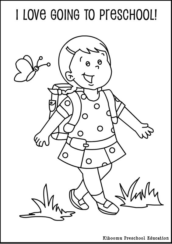 Preschool First Day Of School Song From Kiboomu Kids Songs Preschool Coloring Pages Kindergarten Coloring Pages School Coloring Pages