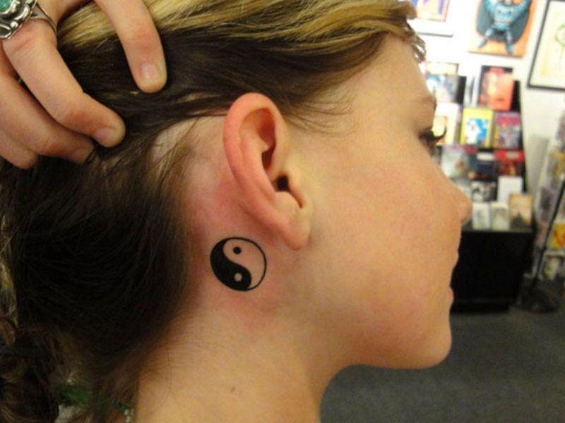 Yin Yang Tattoo Behind Ear Yin Yang Tattoos Ying Yang Tattoo Neck Tattoo