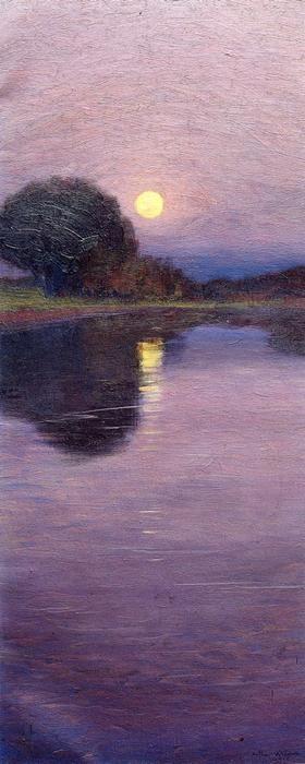 Moonrise 1916 Painting Arthur Wesley Dow Oil Paintings Landscape Art Landscape Paintings Art