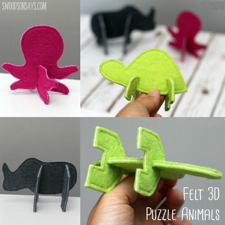 빠른 바느질 -이 3D 퍼즐 동물로 구축 너무 재미 있습니다!  작은 손에 딱 맞는 수제 장난감입니다.