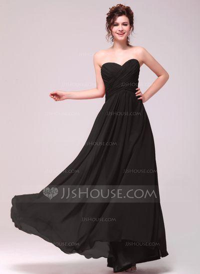 A-Line/Princess Sweetheart Floor-Length Chiffon Bridesmaid Dress With Ruffle (007051847)