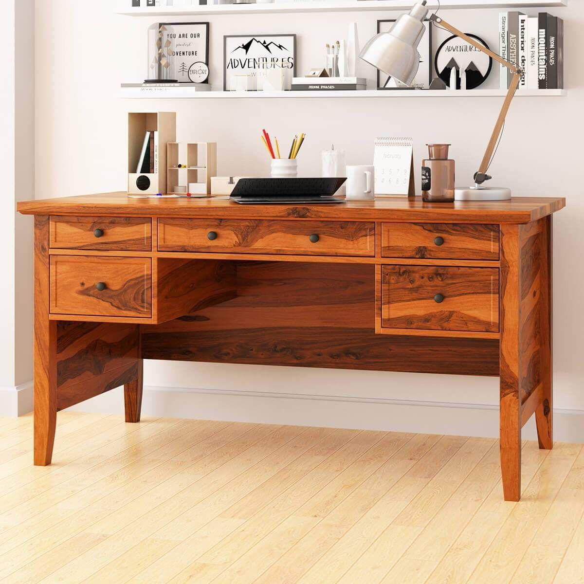 Sheesham Wood (With images) Large writing desk, Hardwood