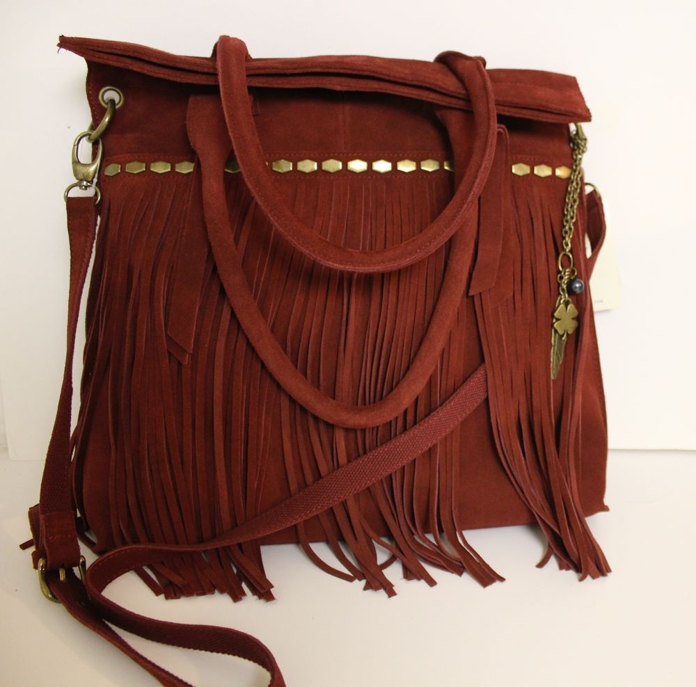 Lucky Brand Nirvana Cranberry Boho Suede Fringe Leather Tote Crossbody Bag 218 Luckybrand