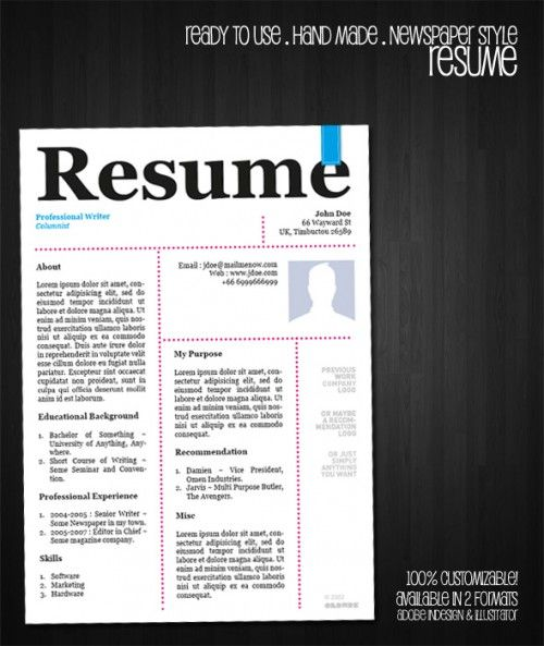 1 ready to use resume template available in 2 different formats indesign illustrator enjoy and feel free to use hope it h free resume template