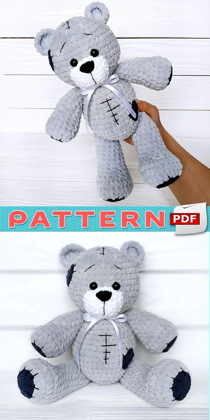 CROCHET TEDDY BEAR Pattern Plush - Stuffed Teddy Bear - Amigurumi Pattern - Soft toy pdf