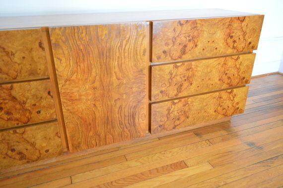 Milo Baughman For Lane Company Mid Century Modern Burl Wood Dresser