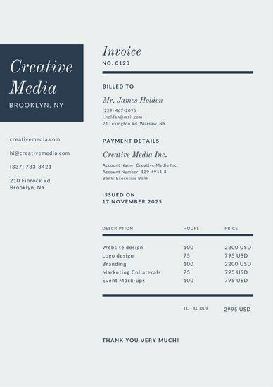 Dark Blue Line Invoice Letterhead Invoice Design Invoice Template Templates