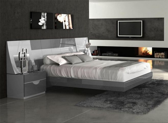 Fenicia Modern High Gloss Grey Bed with 2 Bedside Cabinets ...