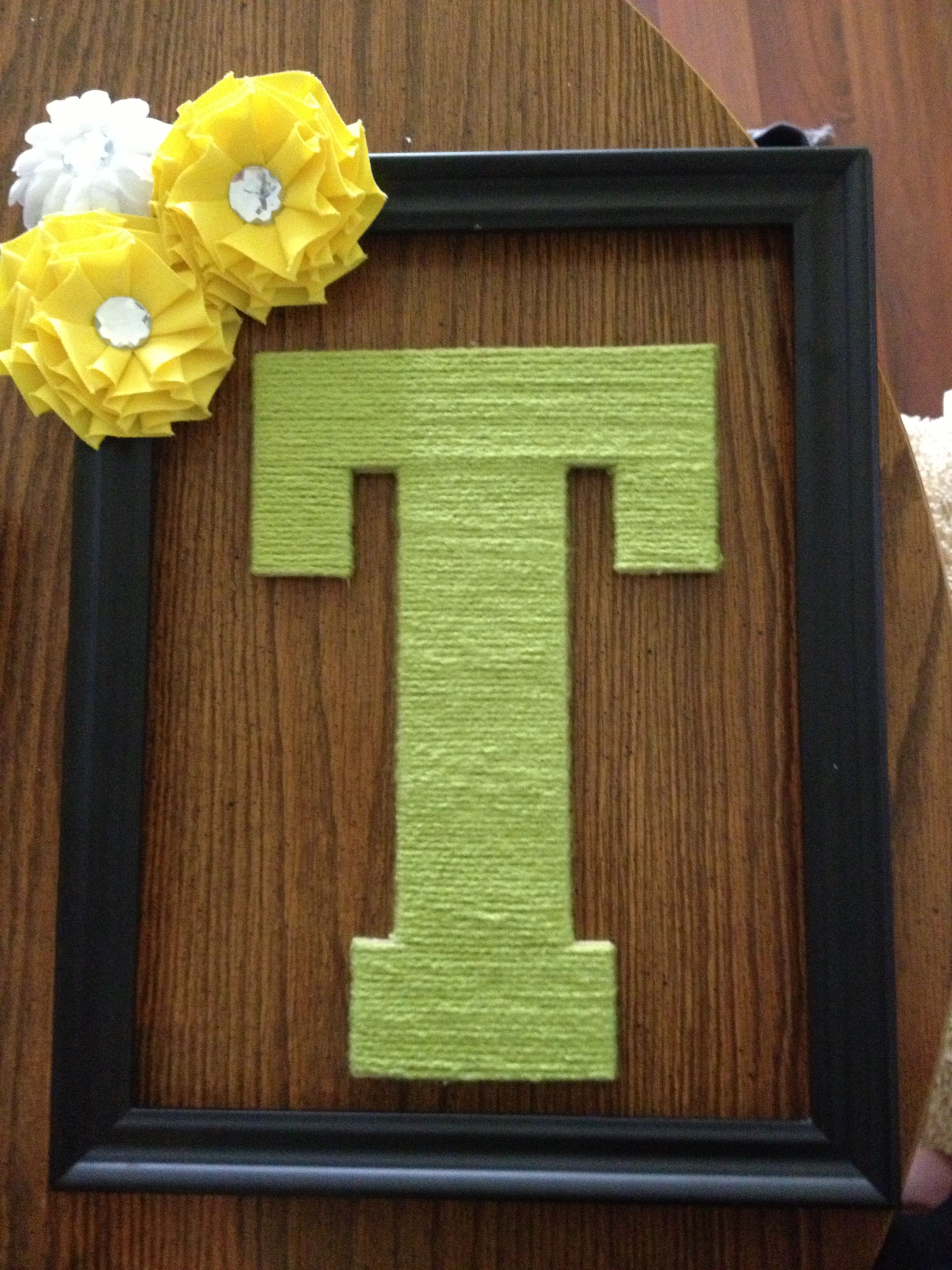 DIY Picture Frame wreath, yarn wrapped letter   Craft Ideas   Pinterest